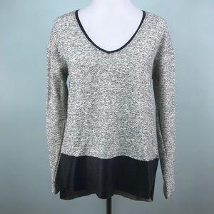Zara Marled Gray sweater with faux leather hem